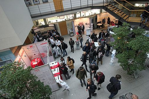 View from above on exhibition stands at Campus Göppingen