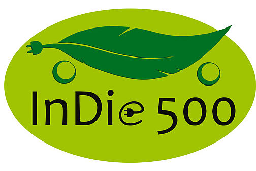 An oval green logo with a leaf and the writing 'InDie 500'.